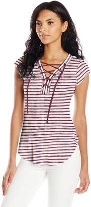 William Rast Women's Willliam Rast-Gordon Trifecta Cap Sleeve Knit Top