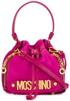 Moschino letters bucket shoulder bag - women - Leather/nylon 12 - One Size