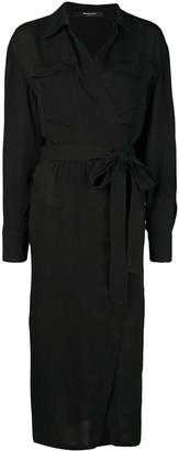 Derek Lam Long Sleeve Asymmetrical Georgette Placket Shirt Dress