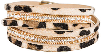 Saachi Style Style Women's Bracelets MULTI - Tan Rhinestone & Goldtone Leopard Verna Layered Leather Wrap Bracelet