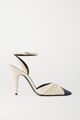 Saint Laurent Diane Embellished Two-tone Leather Pumps - Off-white
