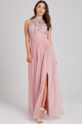 Little Mistress Edith Rose Lace Maxi Dress