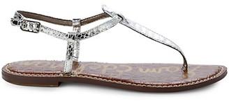 Sam Edelman Gigi Embossed-Snakeskin Metallic Thong Sandals