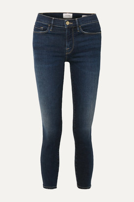 Frame Le Skinny De Jeanne Cropped Distressed Mid-rise Jeans - Mid denim