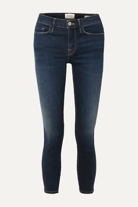 Frame Le Skinny De Jeanne Cropped Distressed Mid-rise Jeans - Mid denim