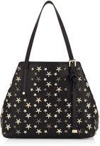 Jimmy Choo SASHA/S Black Leather Small Tote Bag with Multi Metallic Stars