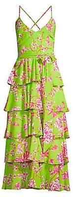 Jay Godfrey Women's Hader Neon Floral Tiered Midi Dress