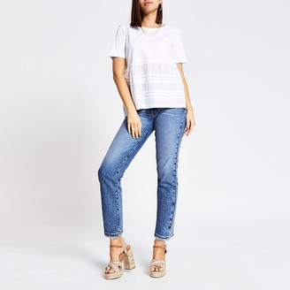 River Island White poplin pleated smock T-shirt
