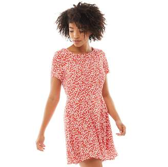Jack Wills Womens Merriden Printed Fit And Flare Dress Red