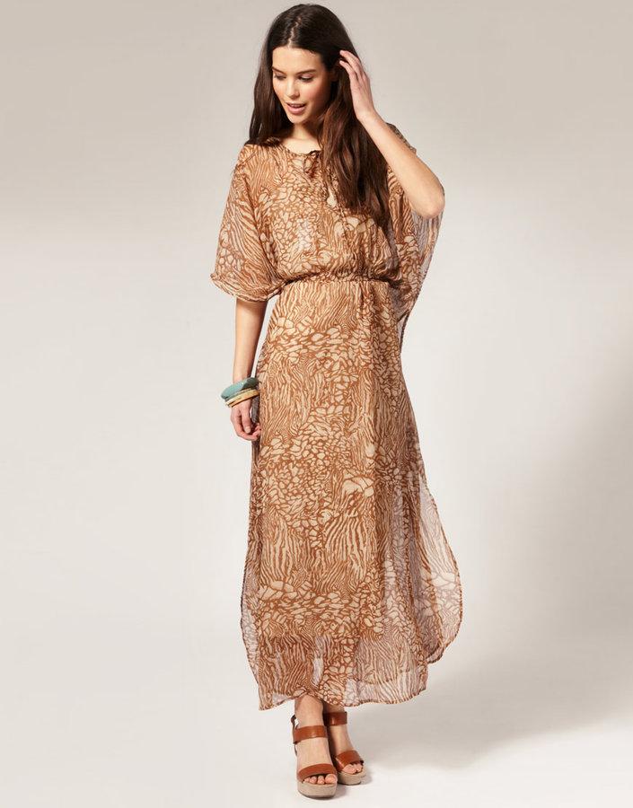 Vila Printed Chiffon Kimono Style Maxi Dress