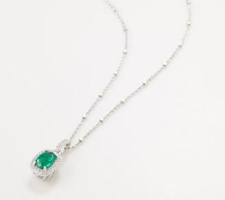 Diamonique Simulated Emerald Pendant with Chain, Sterling