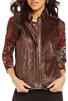 Multiples Faux-Leather Trim Banded Collar Zip Front Faux-Fur Vest