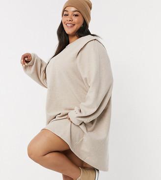 Only Curve longline sweatshirt dress in beige
