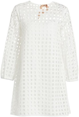 No.21 Flounce Hem Eyelet Shift Dress