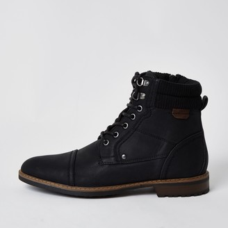 River Island Mens Black zip lace up casual boots