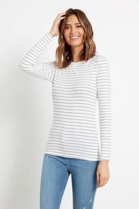 F&F Womens Multi Black/White Scoop Neck Stripe Top - Black