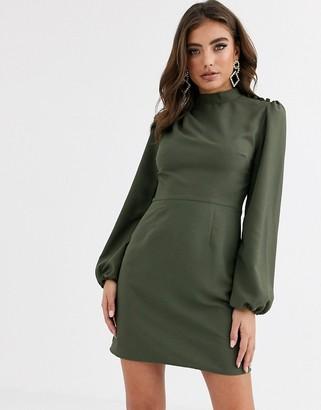 ASOS DESIGN high neck mini dress with long sleeves in khaki