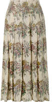 Gucci Crystal-embellished Pleated Printed Silk-twill Skirt - Cream