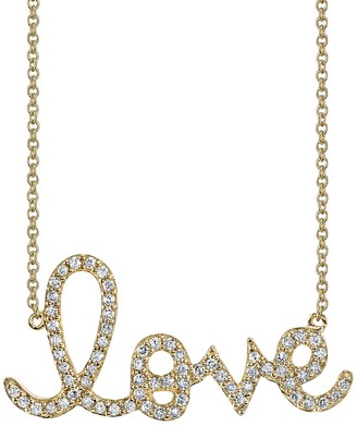 Sydney Evan Large Diamond Love Script Necklace - Yellow Gold