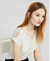 Express V-neck Cold Shoulder Rolled Sleeve Blouse