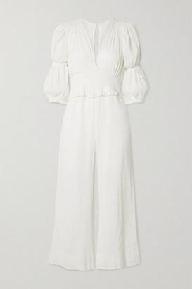 Peony Swimwear Magnolia Vacation Cropped Shirred Organic Cotton And Hemp-blend Jumpsuit - White