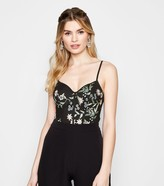 New Look Floral Embroidered Mesh Bustier Bodysuit
