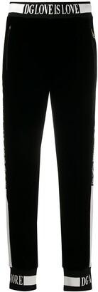 Dolce & Gabbana Love is Love velvet track pants