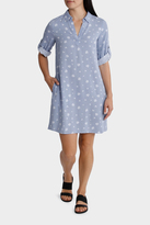 Chambray Printed Roll Up Sleeve Dress