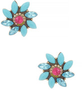 Betsey Johnson Turquoise Flower Stud Earrings