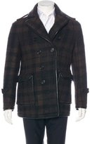 Burberry Wool-Blend Lambskin-Trimmed Peacoat