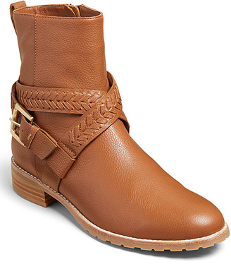 Jack Rogers Women's Casual boots LUGGAGE - Luggage Brown Leather Braided-Strap Eliza Boot - Women