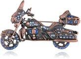 Alilang Gunmetal Tone Blue Rhinestones Vintage Inspired Harley Davidson Motorcycle Biker Brooch Pin