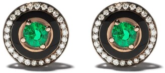 Selim Mouzannar 18kt rose gold diamond emerald Mina earrings