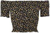 Topshop Floral Print Shirred Bardot Top
