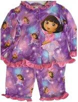 Nickelodeon Little Girls Sky Blue Dora The Explorer Print 2 Pc Pajama Set