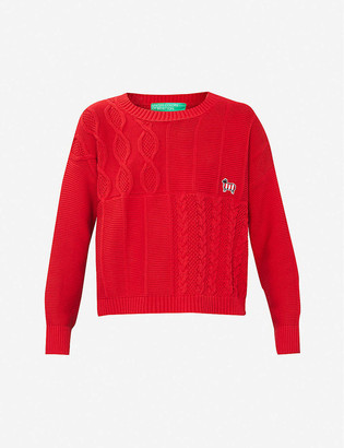 Benetton Sheep-embroidered cable cotton-knit jumper