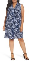 Vince Camuto Plus Size Women's Leopard Song Inverted Pleat Shift Dress