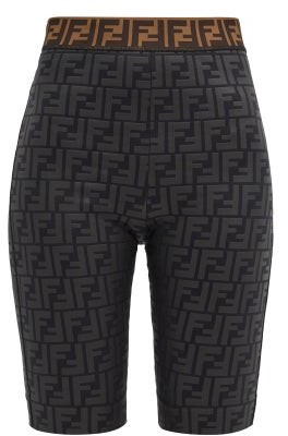 Fendi Ff-monogram Jersey Cycling Shorts - Black