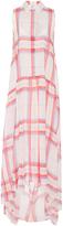 MSGM Silk Plaid Collared Dress
