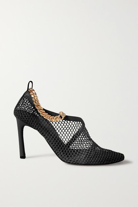 Bottega Veneta Chain-embellished Macrame And Leather Pumps - Black