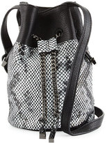 Halston Snake-Embossed Leather Bucket Bag, Black/Multi