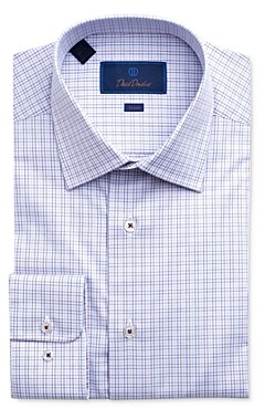 David Donahue Windowpane Plaid Trim Fit Dress Shirt