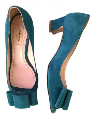 Miu Miu Turquoise Suede Heels