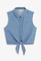 Monki Denim tie-front shirt