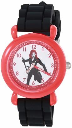 Marvel Girls' Black Widow Analog Quartz Watch with Silicone Strap 16 (Model: WMA000414)