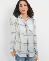 White House Black Market Long-Sleeve Button-Front Plaid Striped Shirt