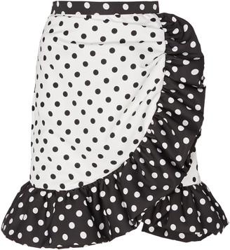 Rodarte Ruffled Polka Dot Crepe Skirt