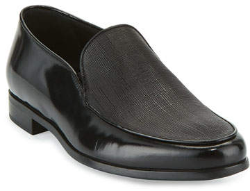 Giorgio Armani Saffiano Leather Venetian Loafer, Black