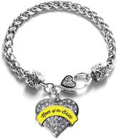 Inspired Silver Yellow Mom of the Bride Pave Heart Bracelet Silver Plated Lobster Clasp Clear Crystal Charm