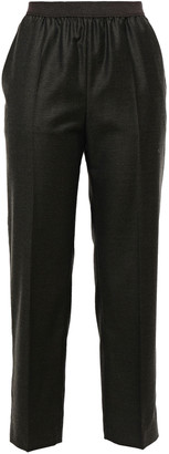 Agnona Cropped Wool And Cashmere-blend Flannel Tapered Pants